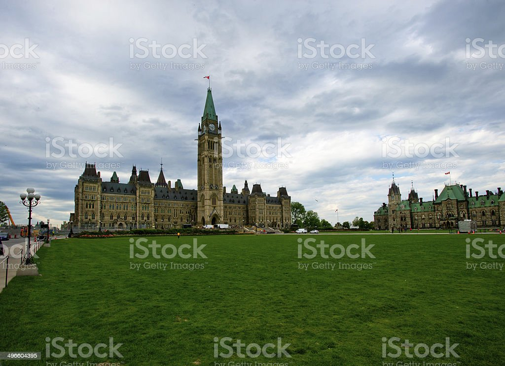 Parliament Hill Ottawa During The Spring Tulip Festival stock photo