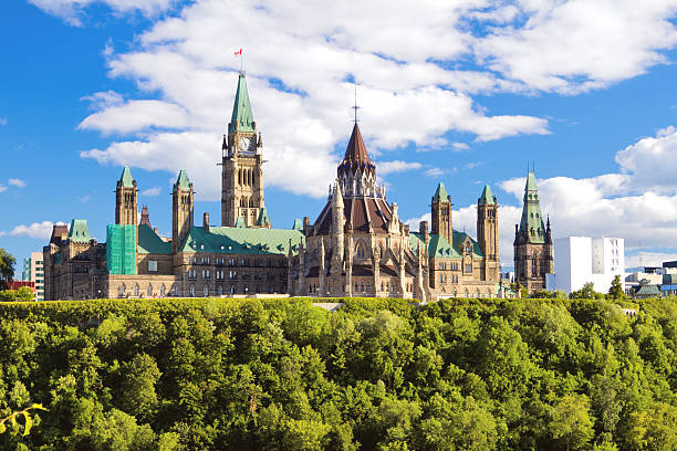 parliament hill, ottawa, ontario, canada - canada parliament stock photos and pictures