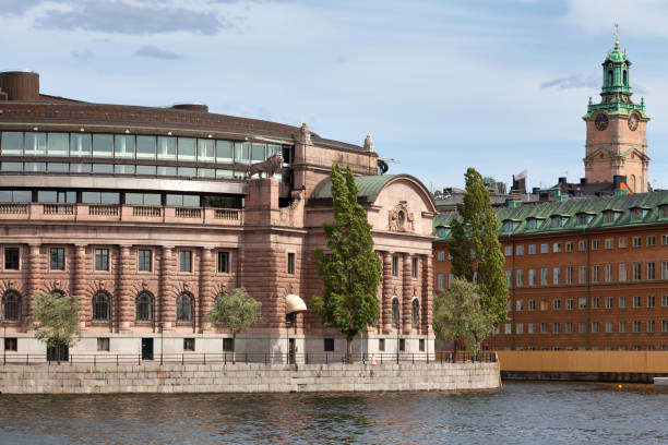 Parliament House and the Stockholm Cathedral stock photo