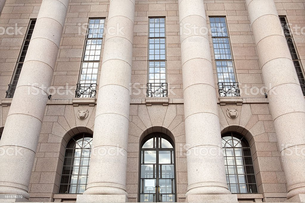 Parliament House, columns frontal detail. Helsinki, Finland stock photo