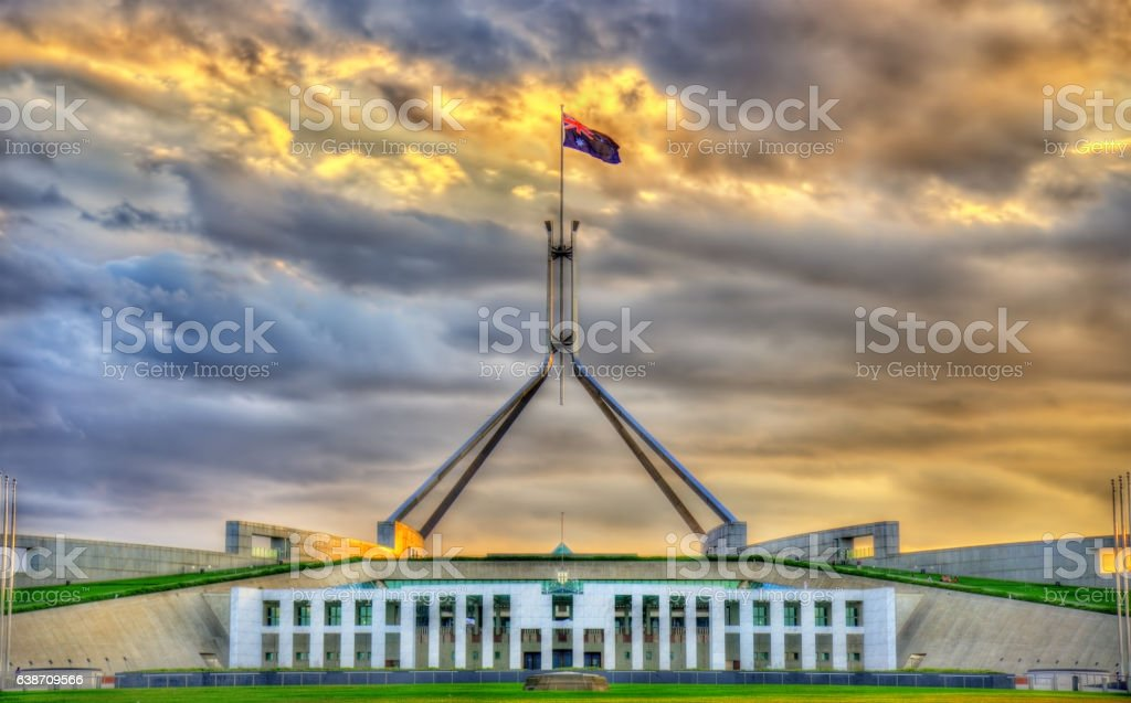 Parliament House in Canberra, Australia stock photo