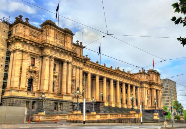 parliament house in melbourne, australia - victoria australia foto e immagini stock