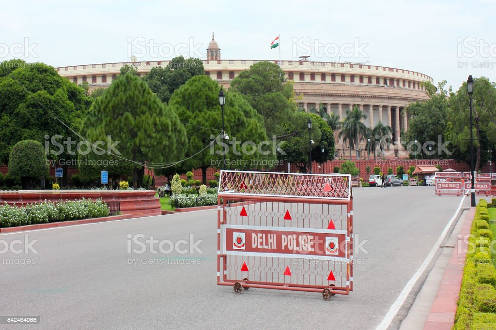 Parliament House in New Delhi, India stock photo