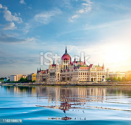Sun over Parliament in Budapest at sunset, Hungary