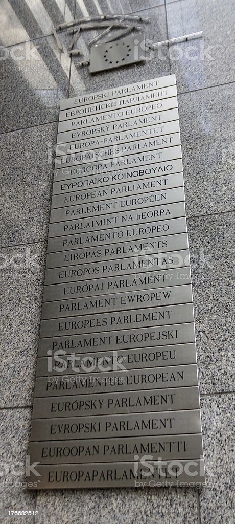 EU parliament letter sign in brussels royalty-free stock photo