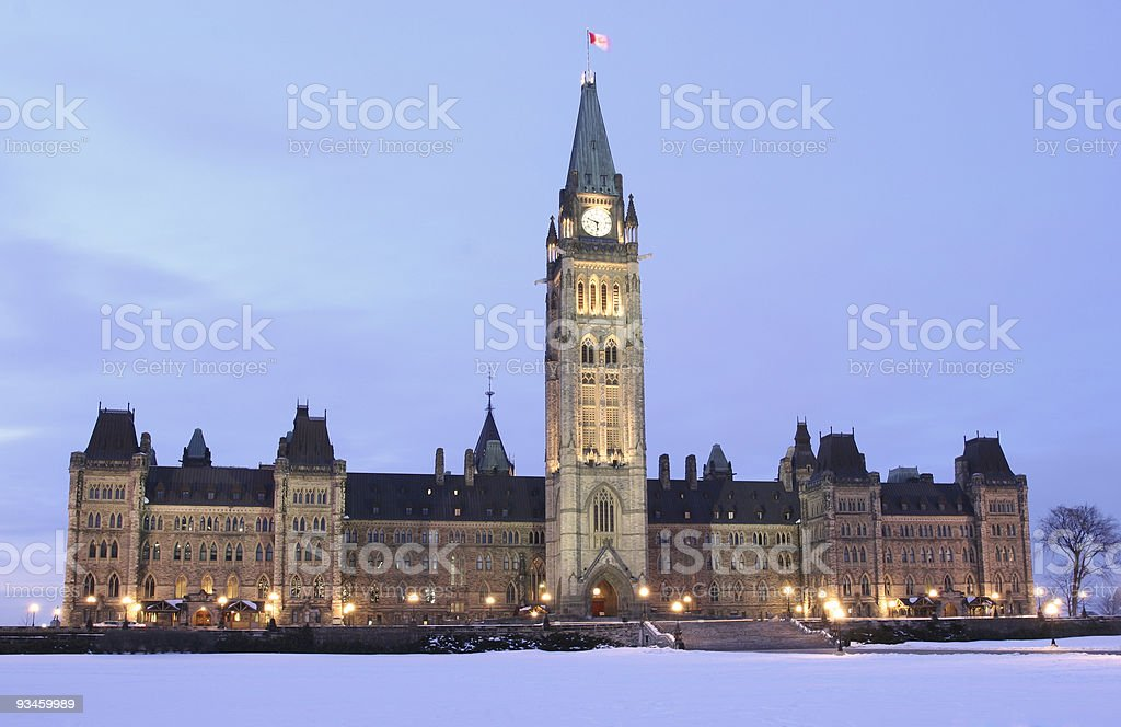 Parliament of Canada at dusk stock photo