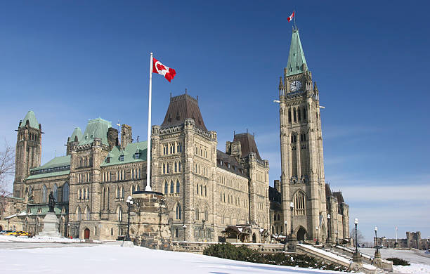 parliament of canada in winter - canada parliament stock photos and pictures