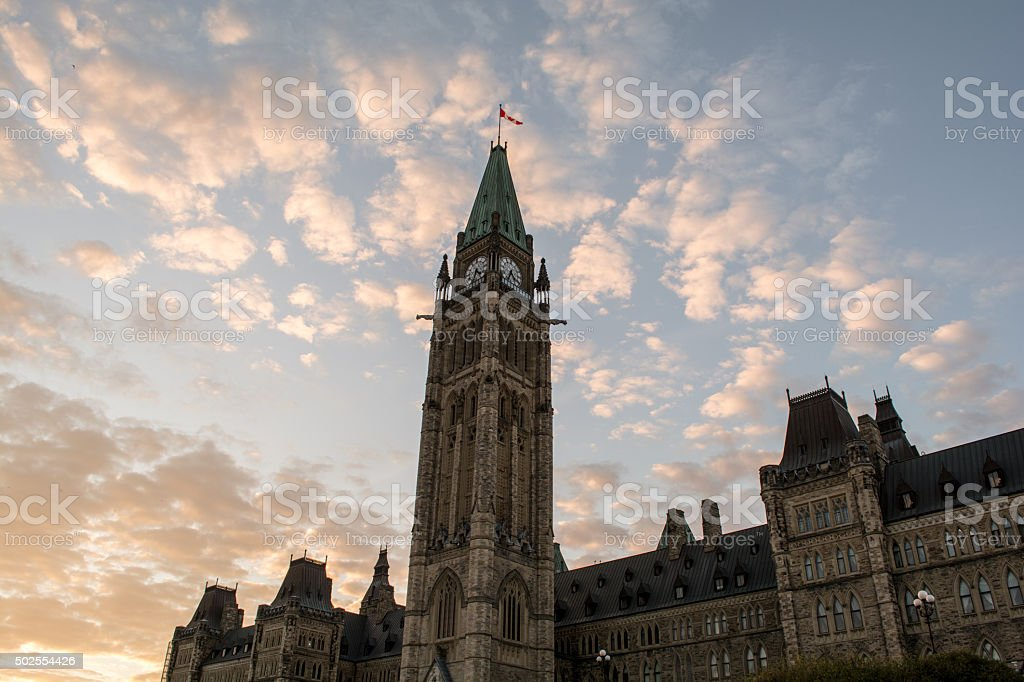 Parliament of Canada, Ottawa and Sunset stock photo