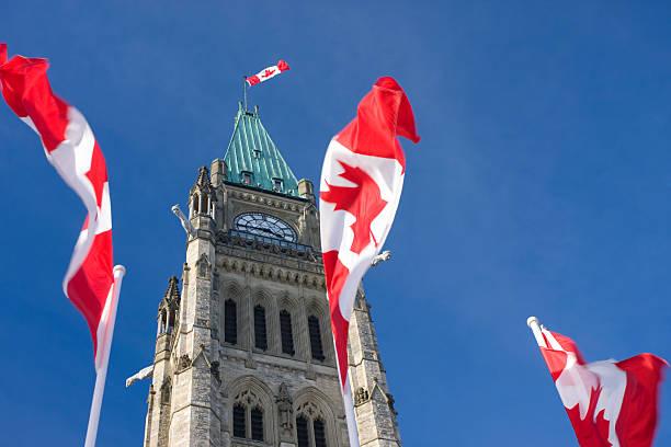 parlament kanady, pokój tower, kanadyjskie flags - kanada zdjęcia i obrazy z banku zdjęć