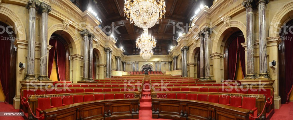 Parliament of Catalonia - Plenary Hall stock photo