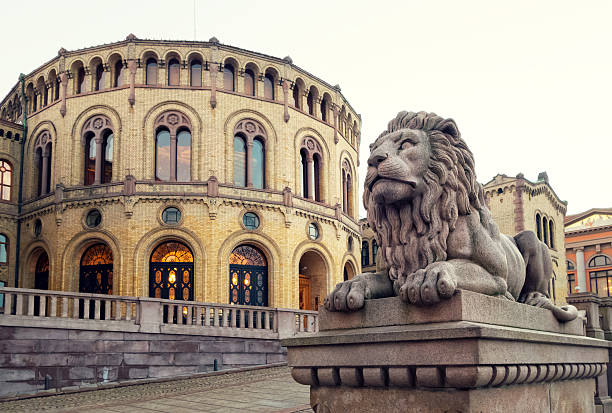 Parliament of Norway building with lion sculpture, Oslo The Parliament of Norway Building  with lion sculpture, Oslo Norway oslo stock pictures, royalty-free photos & images