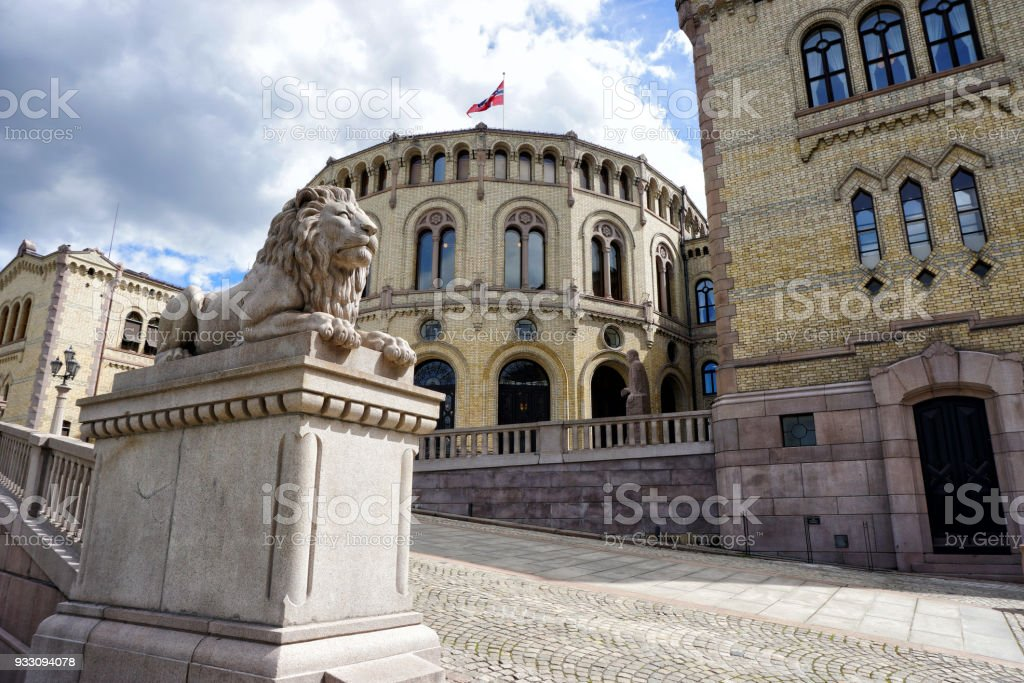 Parliament of Norway stock photo