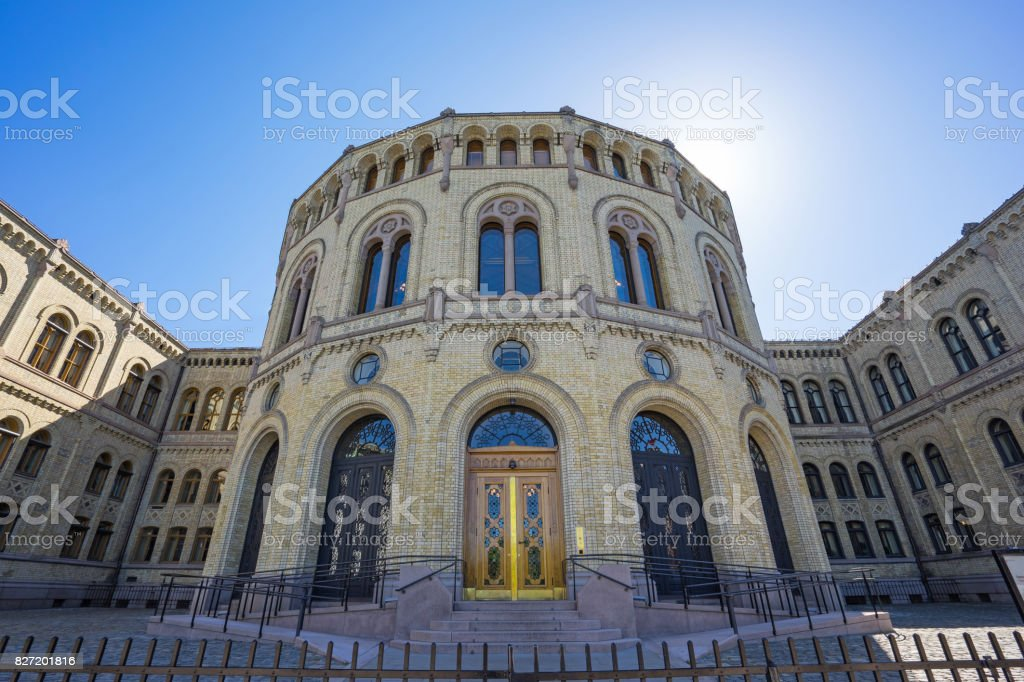Parliament of Norway Stortinget in Oslo city, Norway stock photo