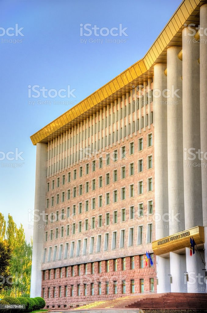 Parliament of the Republic of Moldova in Chisinau stock photo