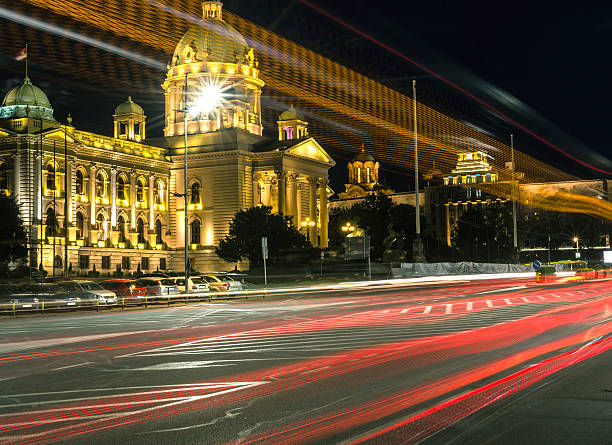 parliament of the republic of serbia - belgrade serbia stock photos and pictures