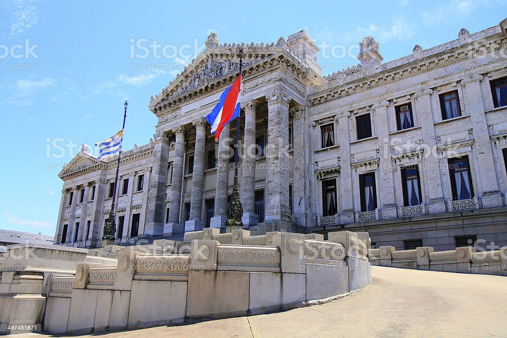 Parliament of Uruguay and Flag - Montevideo, South America stock photo