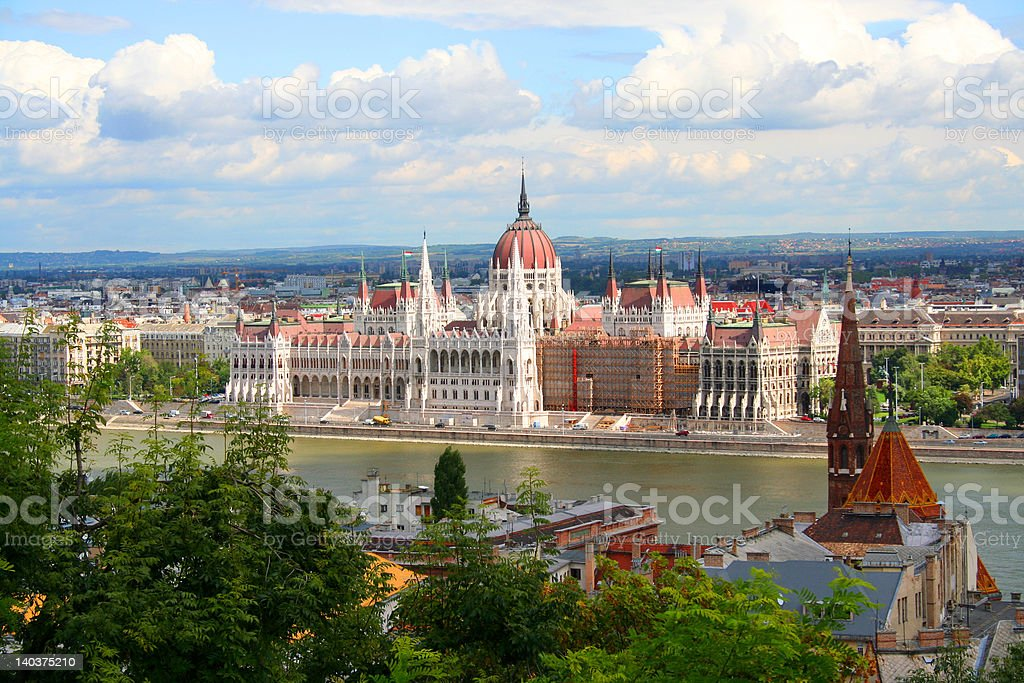 Parliament over Danube stock photo
