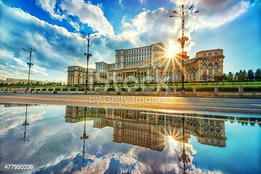 Parliament Palace in Bucharest at sunset, the Largest building in Europe.