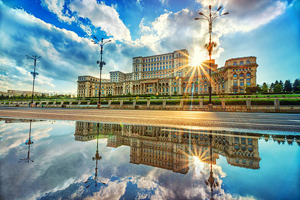 parliament palace in bucharest, romania the largest building in europe - romania stock pictures, royalty-free photos & images