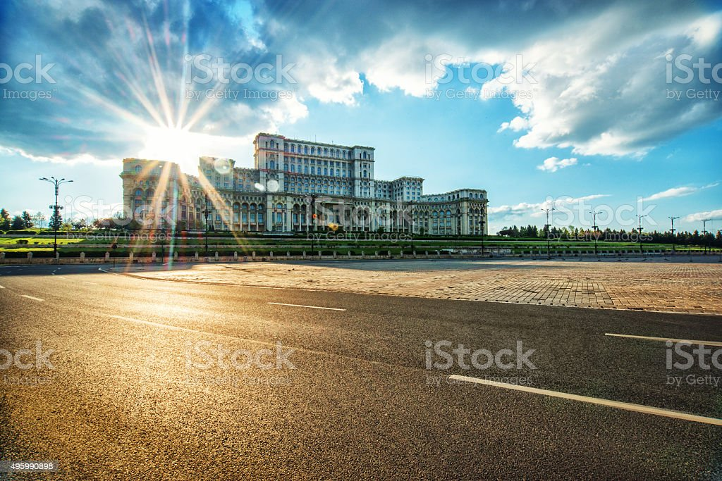 Parliament Palace in Bucharest, Romania the Largest building in Europe stock photo