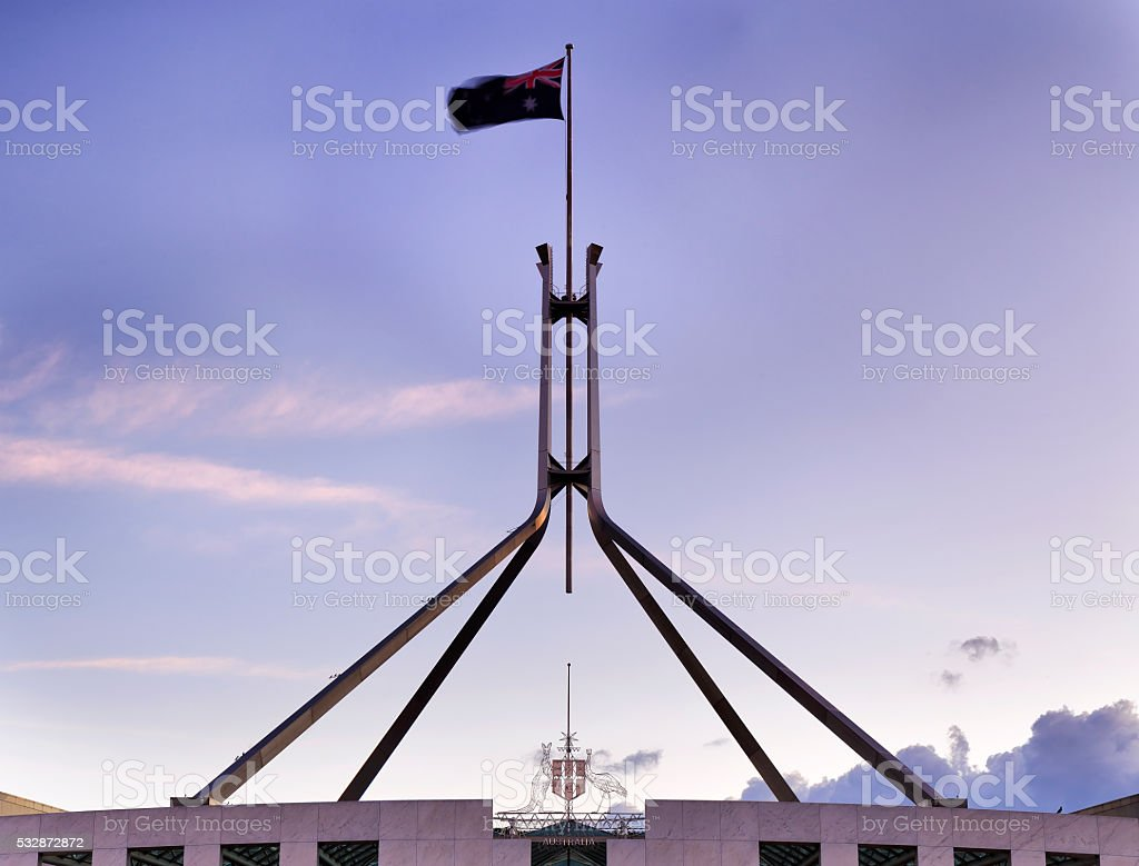 CAN Parliament roof flag set stock photo