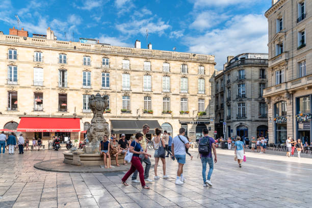 Parliament Square in historic city of Bordeaux stock photo