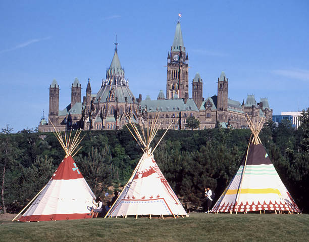 parliament teepees - canada parliament stock photos and pictures