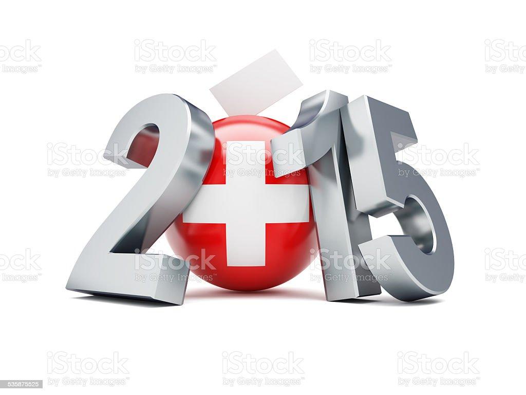 Parlamentswahlen in der Schweiz 2015 auf weißem Hintergrund – Foto