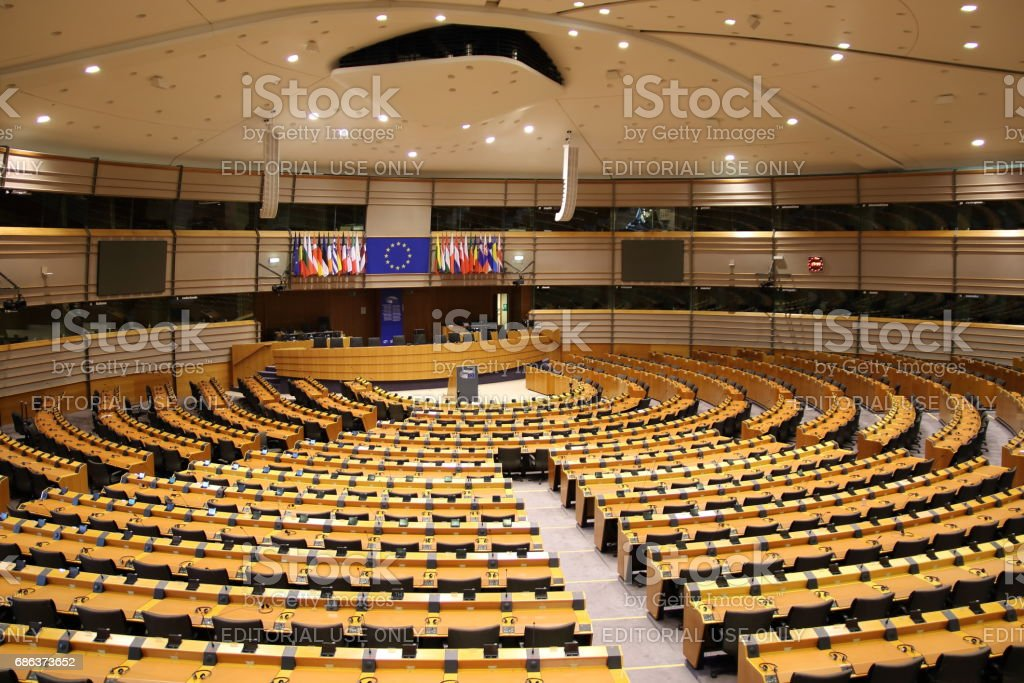 Parliamentary hemicycle at the European Union in Brussels stock photo