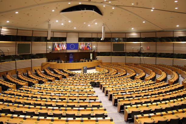 Parliamentary hemicycle at the European Union in Brussels Brussels, Belgium - May 18, 2017: The Parliamentary hemicycle. The European Parliament is open for visitors. pejft stock pictures, royalty-free photos & images