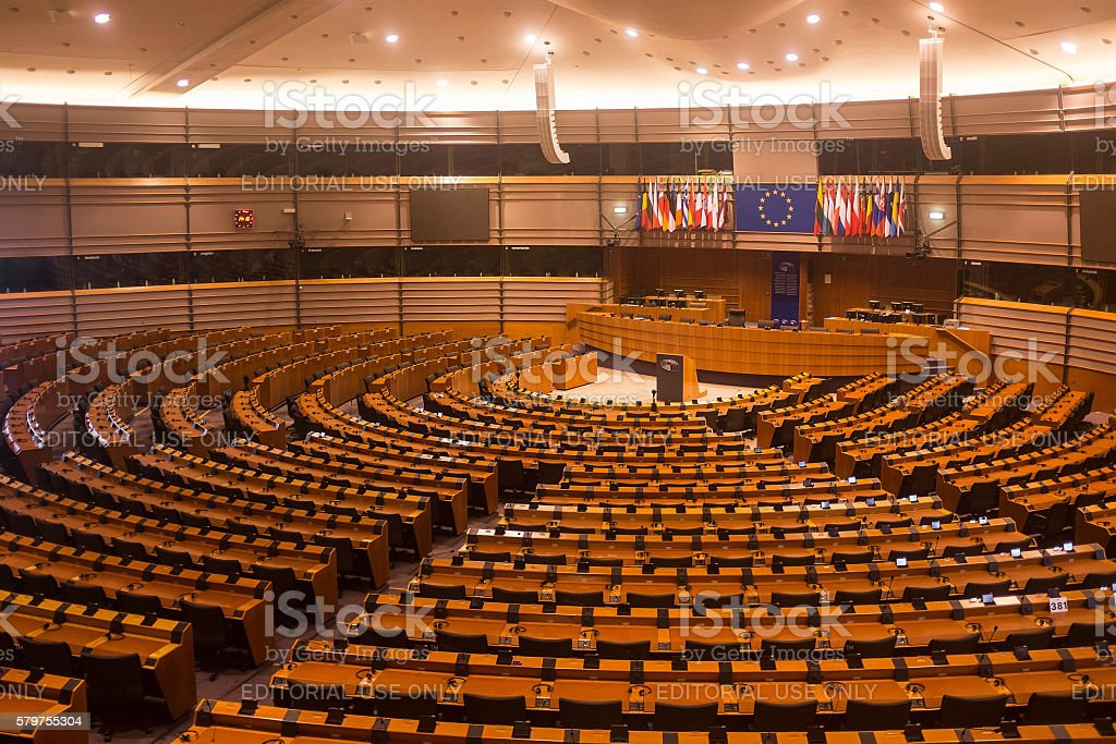 Parliamentary hemicycle of the European Union in Brussels stock photo