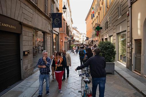 Parma, Emilia Romagna, Italy. September, 21, 2019. Borgo Giacomo Tommasini Street view downtown 2019, Italy