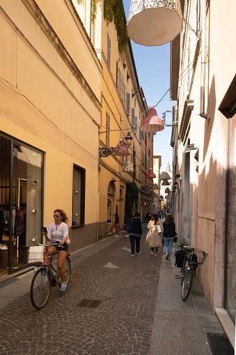 Parma, Emilia Romagna, Italy. September, 21, 2019. Borgo Giacomo Tommasini bike woman street view 2019, Italy street view downtown 2019 ,Italy