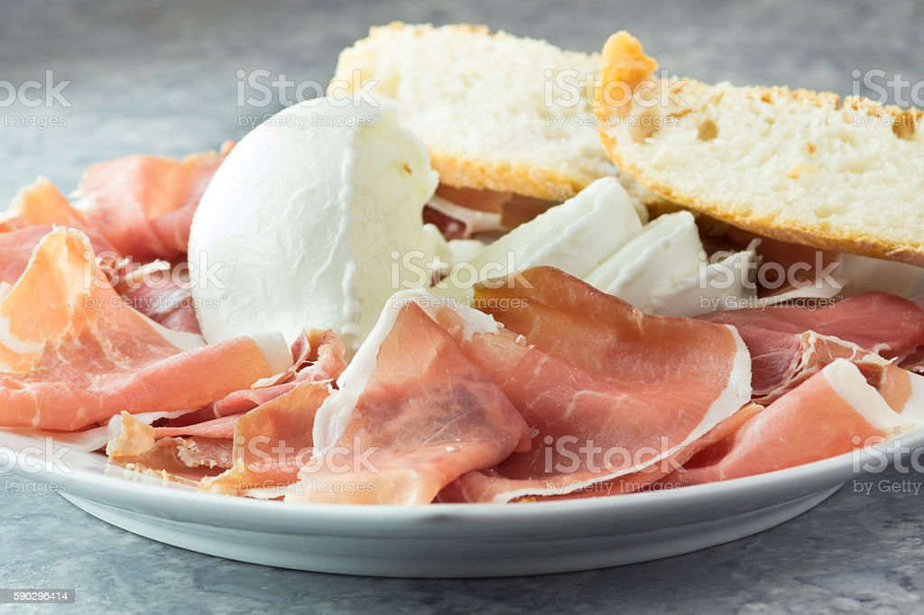 Parma ham and buffalo mozzarella royaltyfri bildbanksbilder
