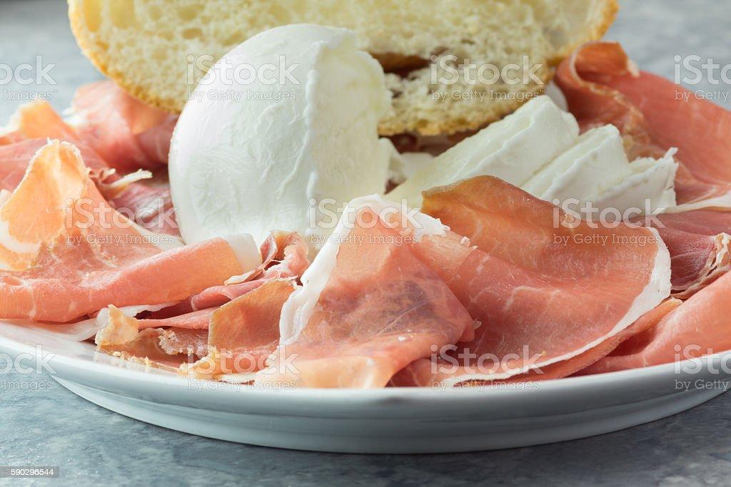 Parma ham and buffalo mozzarella stock photo
