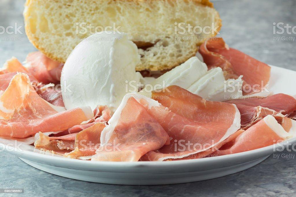Parma ham and buffalo mozzarella Стоковые фото Стоковая фотография