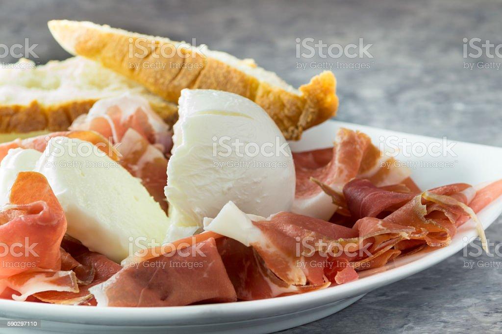 Parma ham and buffalo mozzarella royaltyfri bildbanksbilder