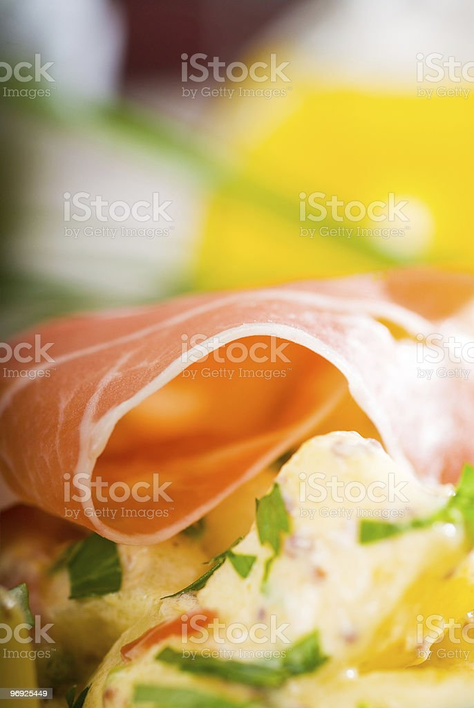 parma ham and potato salad royalty-free stock photo