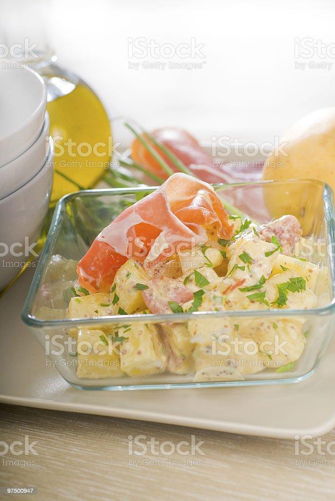 parma ham and potato salad royalty-free stock photo