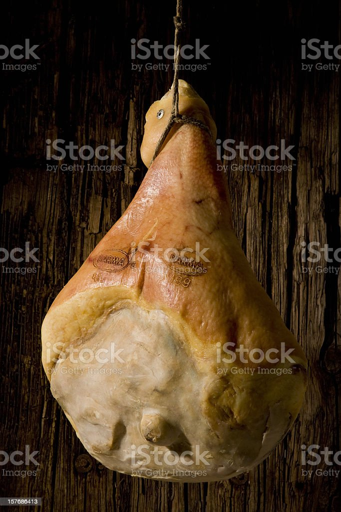Parma ham hanging royalty-free stock photo