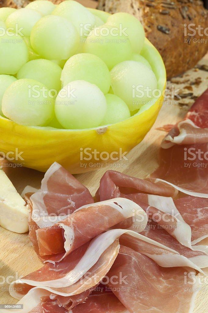 Parma Ham, Melon, Bread and Cheese royalty-free stock photo