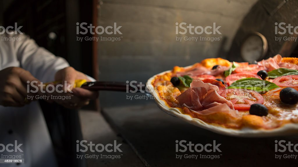 Parma ham pizza stock photo