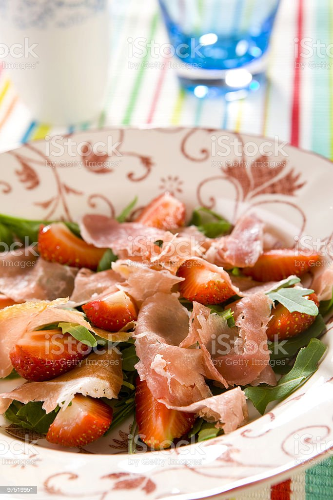 parma ham with strawberry royalty-free stock photo