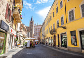 Parma, Italy - August 16, 2017: people in old town Parma streets