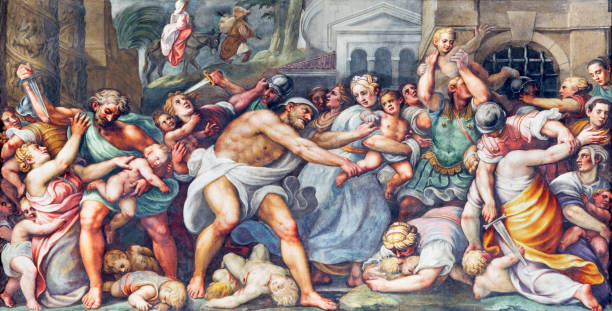 Parma - The fresco of Macacre of Inocents in Duomo by Lattanzio Gambara (1567 - 1573). Parma -  The fresco of Macacre of Inocents in Duomo by Lattanzio Gambara (1567 - 1573). mass murder stock pictures, royalty-free photos & images