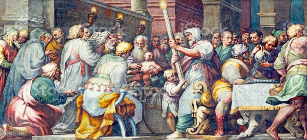 Parma - das Fresko die Beschneidung Jesu im Dom von Lattanzio Gambara (1567 – 1573). – Foto