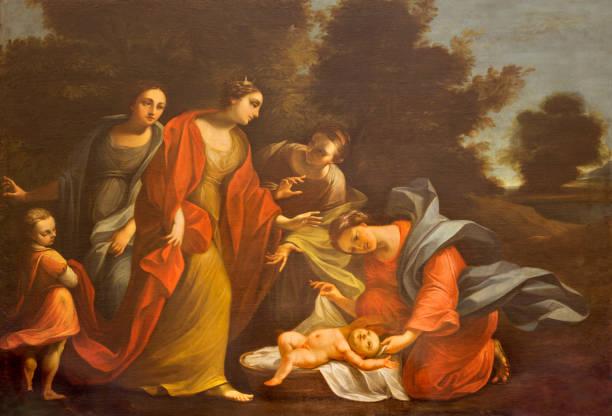 帕爾馬-摩西從尼羅河中救出的畫聖托馬索教堂由不知道的演出者。 - 大比大 聖經人物 個照片及圖片檔