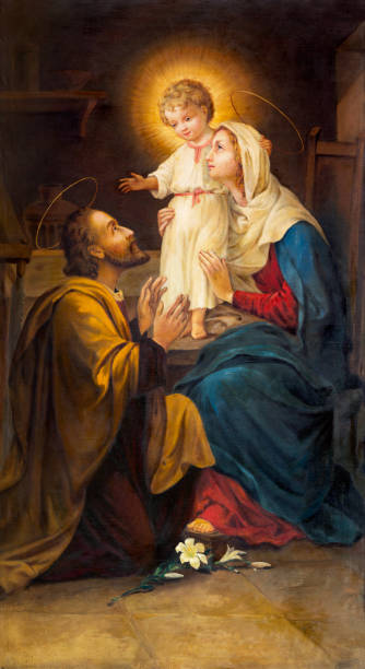 Parma -  The painting of Holy Family in church Chiesa di San Benetetto by unknown artist of 19. cent. Parma -  The painting of Holy Family in church Chiesa di San Benetetto by unknown artist of 19. cent. religious saint stock pictures, royalty-free photos & images