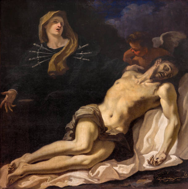 parma - the painting of pieta (madonna of seven sorrows) in church chiesa di santa maria degli angeli by sebastiano ricci (1686). - deposition stock pictures, royalty-free photos & images
