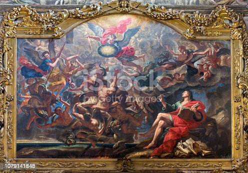 istock Parma - The painting of The Battle of the Angels after Apocalypse of St. John in church Chiesa di San Giovanni Evangelista by unknown artist. 1079141848